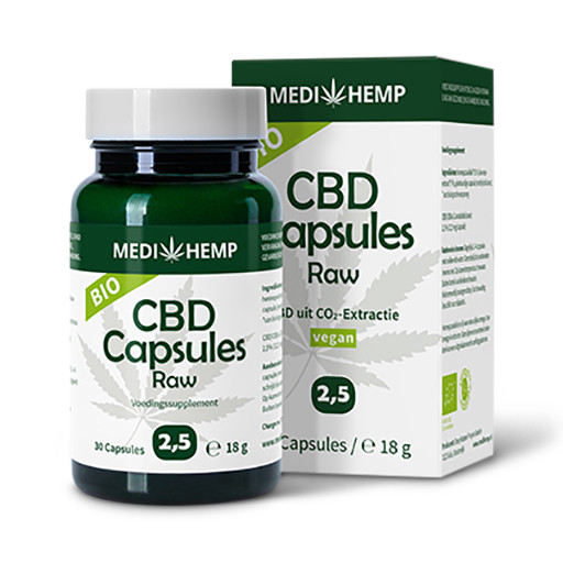 Biologische-CBD-capsules-Raw-Medihemp-2,5%